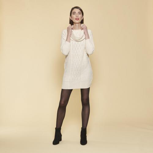db519a6de751a 3 SUISSES - Robe courte en tricot manches longues col amovible femme -  Ivoire - Robe