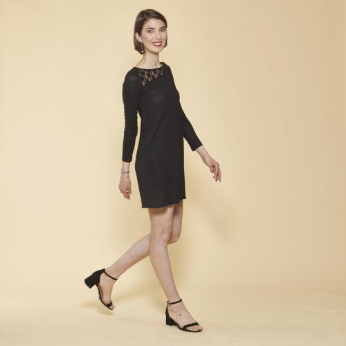 05d6f6e6510 3 SUISSES - Robe courte évasée manches longues guipure et ouverture dos  femme - Noir -