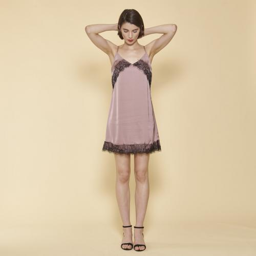 3b7cf527005 3 SUISSES - Robe courte fines bretelles ajustables col V et dentelle femme  - Rose Pâle