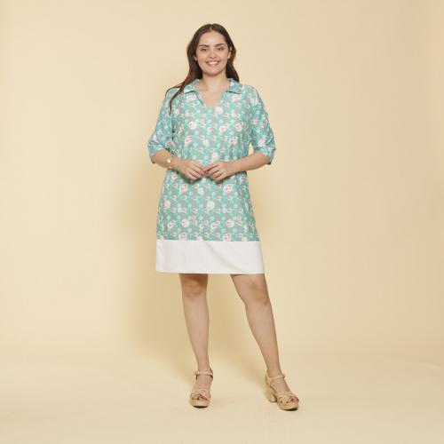 5858c397e7e8c 3 SUISSES - Robe courte imprimée manches aux coudes femme - Imprimé Vert -  Robe