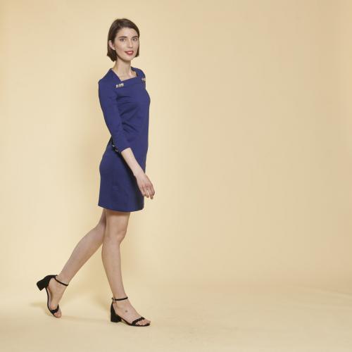 227c683d7ca 3 SUISSES - Robe courte manches 3 4 boutons fantaisie femme - Bleu Dur -