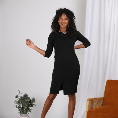 27e3fba3c3369 3 SUISSES - Robe courte manches 3 4 et ceinture à nouer femme - Noir