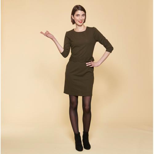 a6aa7f1fbd6 3 SUISSES - Robe courte manches 3 4 taille pièce ondulée femme - Kaki -