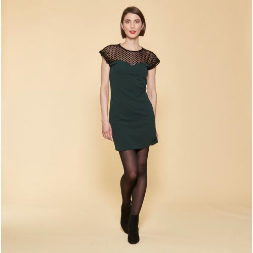 ec9f86eb97d 3 SUISSES - Robe courte manches courtes empiècement en tulle femme - Vert  Bouteille - Robe
