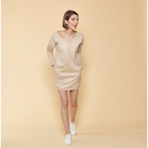 1fec6be9d9c 3 SUISSES - Robe courte manches longues bi-matière femme - Robe