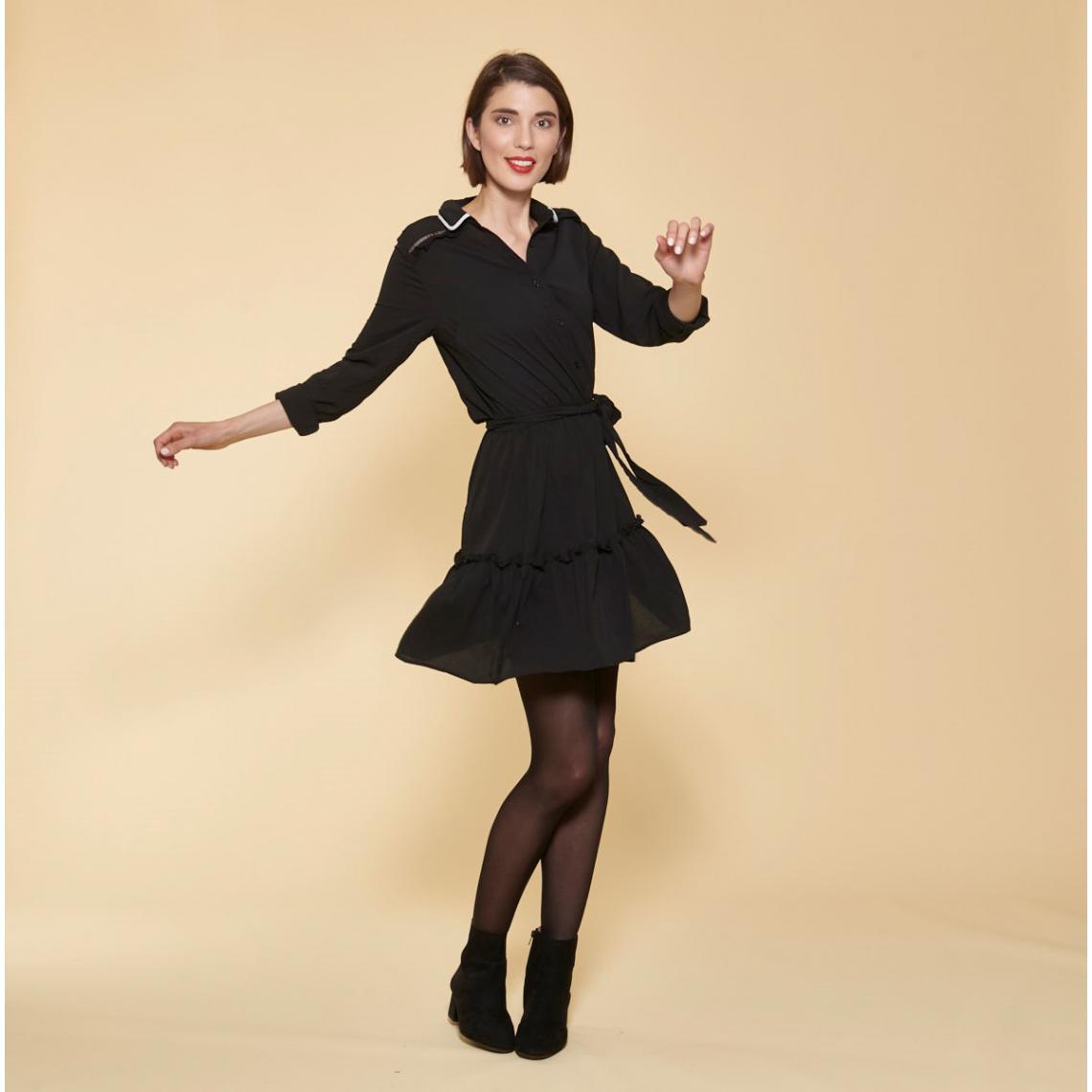 Robe courte manches longues taille élastique et ceinture contrastée - 3 SUISSES - Modalova