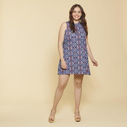 47dd73954f0 3 SUISSES - Robe courte sans manche évasée imprimée femme - Bleu - Robe