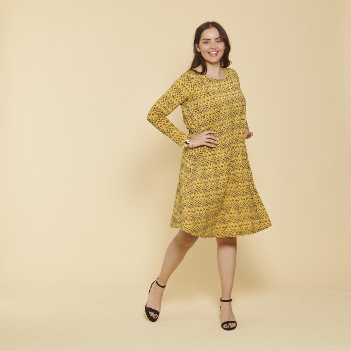 Robe imprimée évasée manches longues - Imprimé Moutarde - 3 SUISSES - Modalova