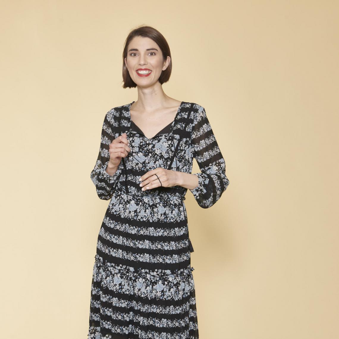 Robe Longue Imprimee Avec Pans Manches Longues Elastiquees Femme Imprime Noir 3 Suisses