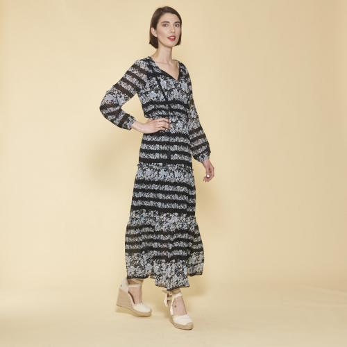 56af7312793 3 SUISSES - Robe longue imprimée avec pans manches longues élastiquées  femme - Imprimé Noir -