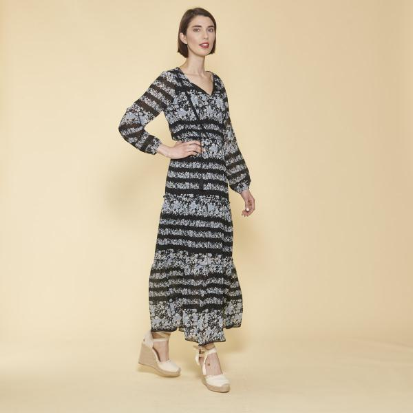 ae2a85eeb9a Robe longue imprimée avec pans manches longues élastiquées femme - Imprimé  Noir ...