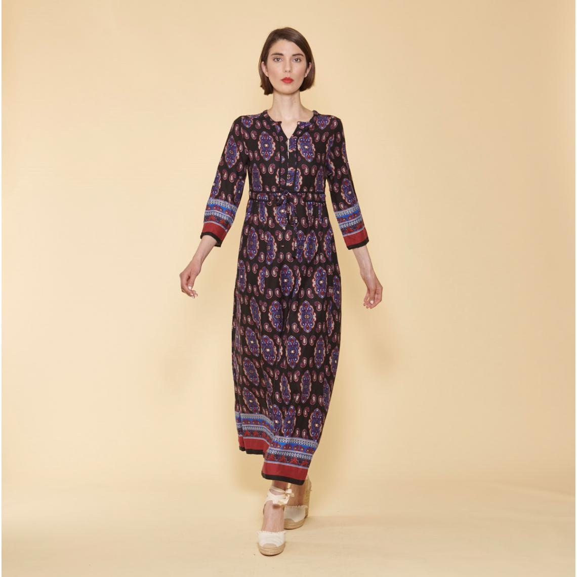 Promo : Robe longue imprimée col caftan manches 3/4 - Imprimé Bleu - 3 SUISSES - Modalova
