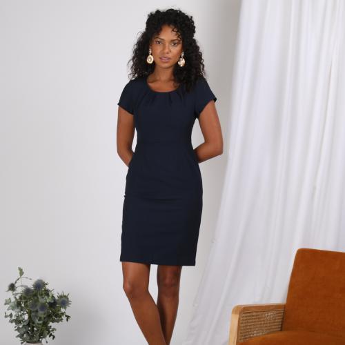 567181fd7cb 3 SUISSES - Robe manches courtes pinces fente dos femme - Bleu - Promos  robes