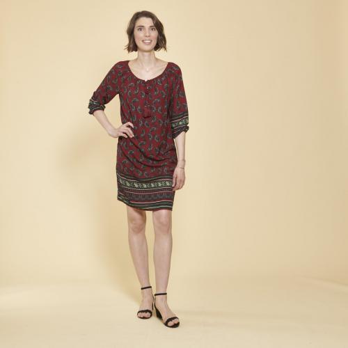 31b1464d901 3 SUISSES - Robe-tunique col caftan avec dentelle manches 3 4 élastiquées  femme