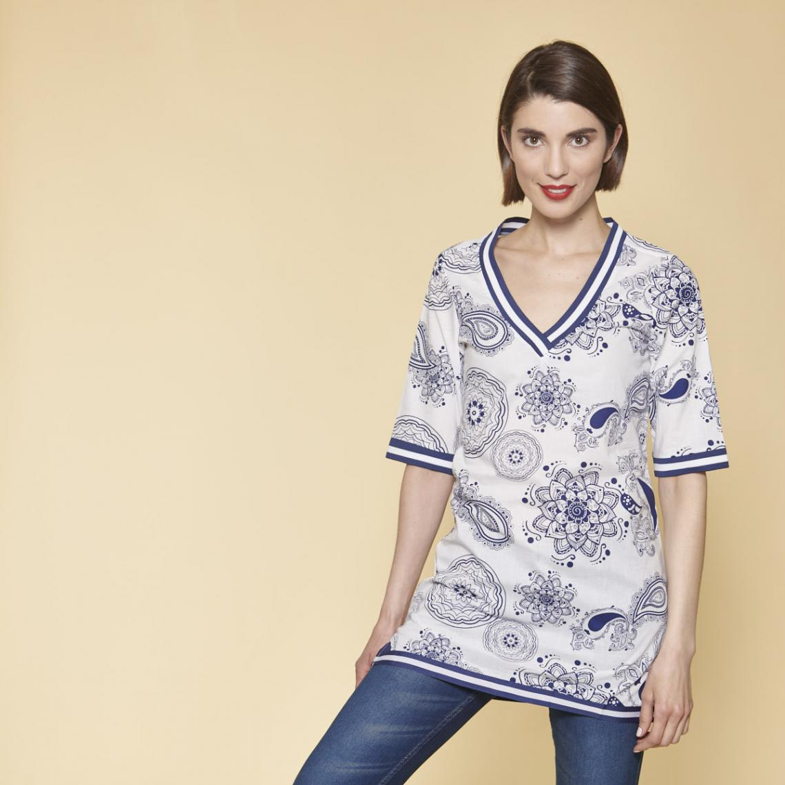 Robe Tunique Imprimee Femme Imprime Bleu 3 Suisses