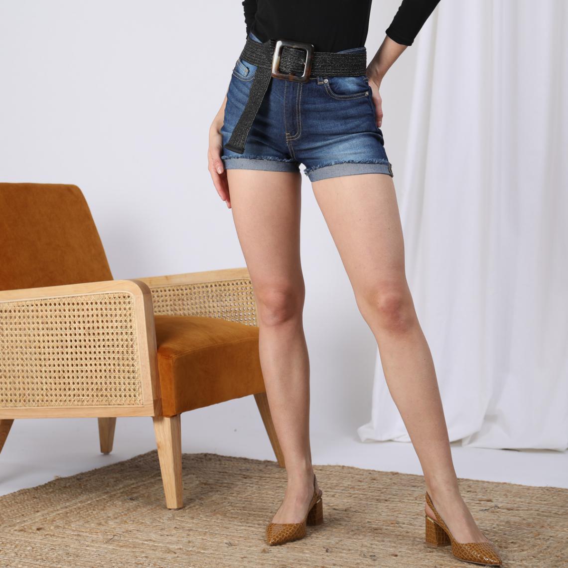 Short en jean bas effiloché coupe 5 poches femme Bleu 8 Avis Plus de détails