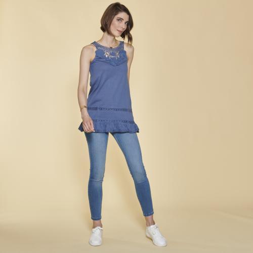 b3b51ec4d1b 3 SUISSES - Tee-shirt à bretelles avec guipure et volant femme - Bleu -