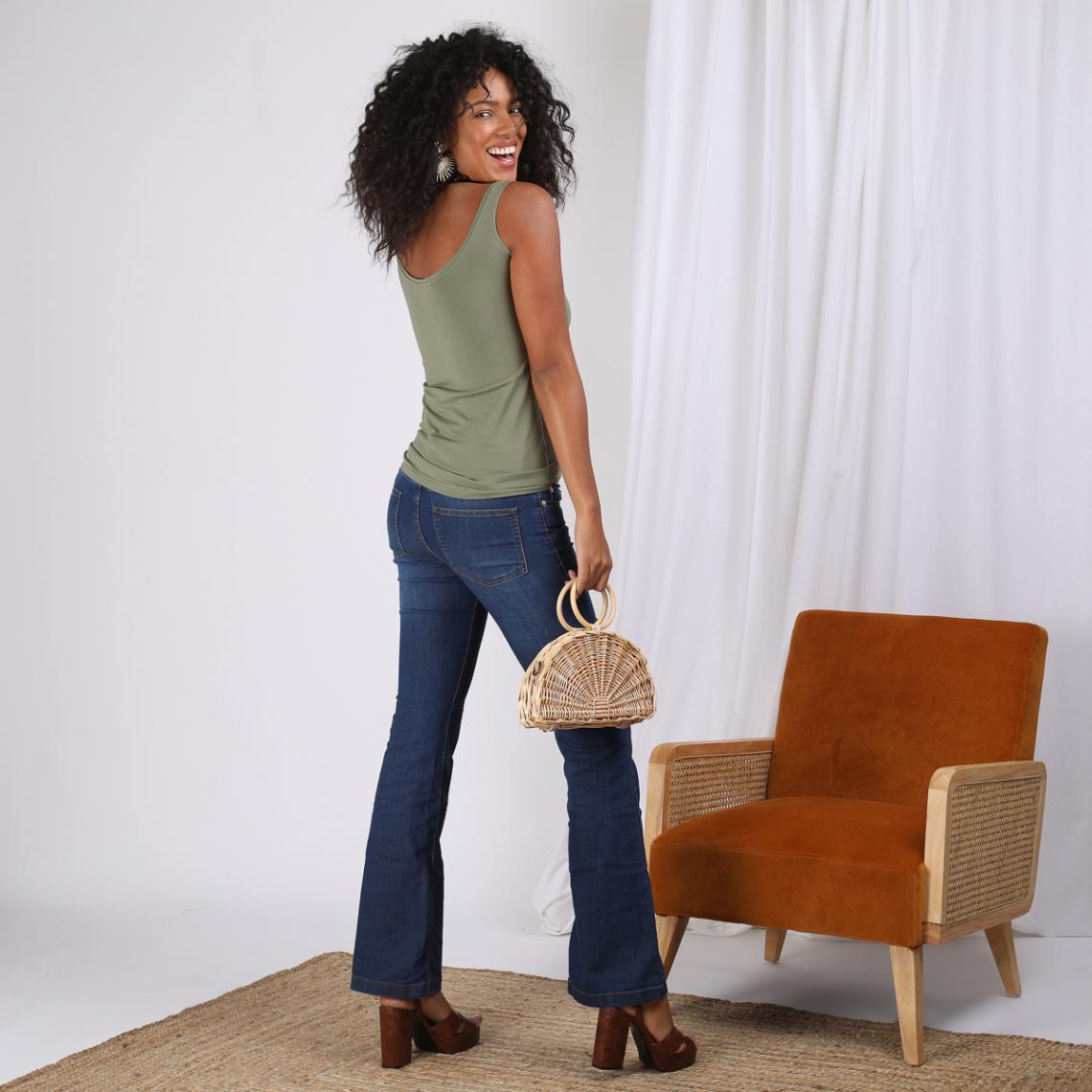 76f79a9086a146 Tee-shirt à bretelles col rond à pressions femme - KAKI   3 SUISSES