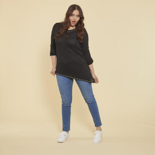 b2b3a6b1794 3 SUISSES - Tee-shirt asymértrique en pointe manches longues et punaises  grandes tailles femme