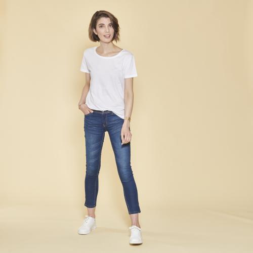 d1693044456 3 SUISSES - Tee-shirt asymétrique fendu manches courtes femme - Blanc -  Promos vêtements