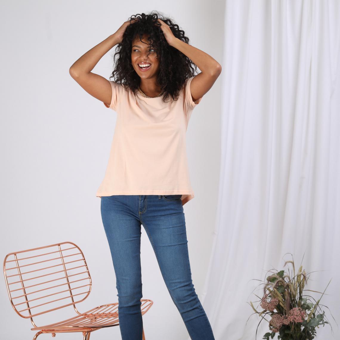 Promo : Tee-shirt asymétrique fendu manches courtes - Chair - 3S. x Le Vestiaire - Modalova