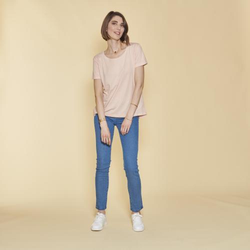 223b7ec01d085 3 SUISSES - Tee-shirt asymétrique fendu manches courtes femme - Peau - T-