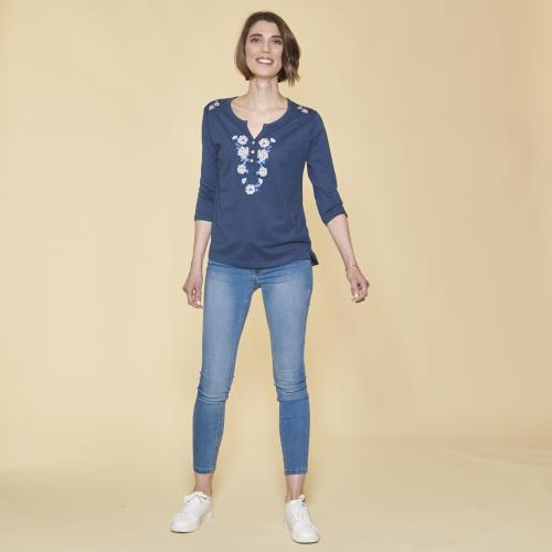 7f76611b473 3 SUISSES - Tee-shirt boutons en nacre manches 3 4 imprimé devant femme