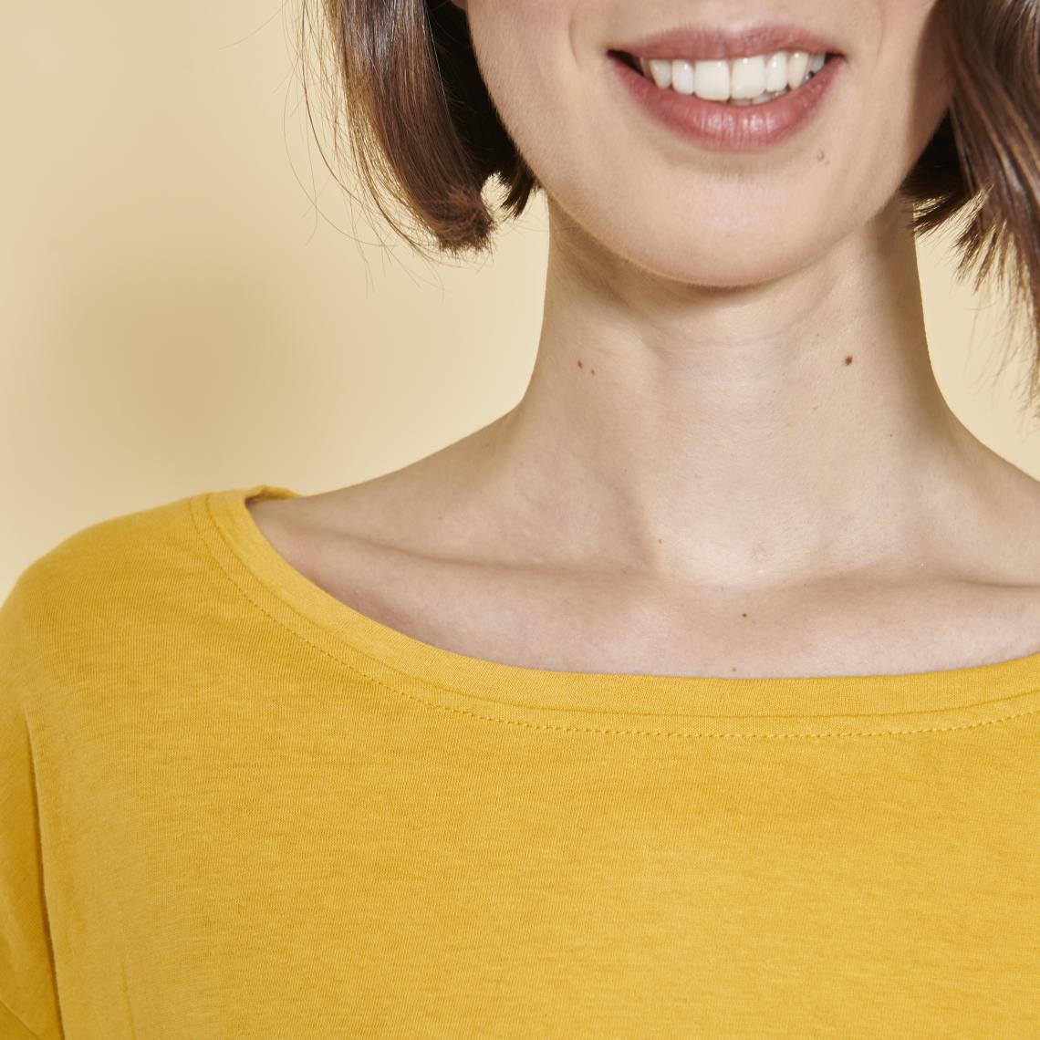 Comment Faire Du Jaune Moutarde tee-shirt carré manches longues femme - jaune moutarde 1 avis plus de  détails