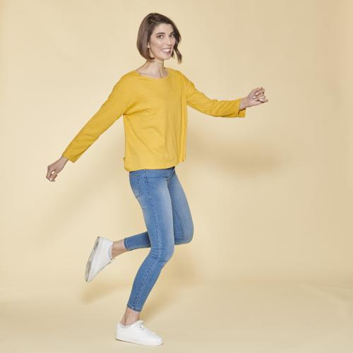 3 SUISSES - Tee-shirt carré manches longues femme - Jaune Moutarde - Mode Grande Taille