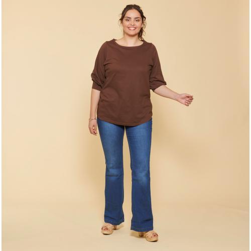 Tailles Poignets Grandes Et Femme Manches 34 Tee Bateau Avec Shirt Col Plis mn0N8vw