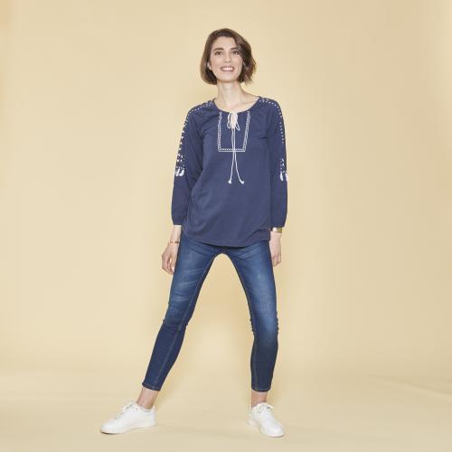 f8a56886d44 3 SUISSES - Tee-shirt col caftan manches longues élastiquées avec pompons  femme - Bleu
