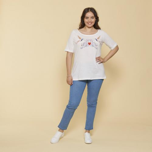 eadaa46fcec 3 SUISSES - Tee-shirt col rond manches aux coudes broderie devant grandes  tailles femme