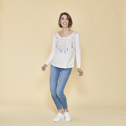 433af5c0494be 3 SUISSES - Tee-shirt col rond manches longues imprimé et pompons femme -  écru