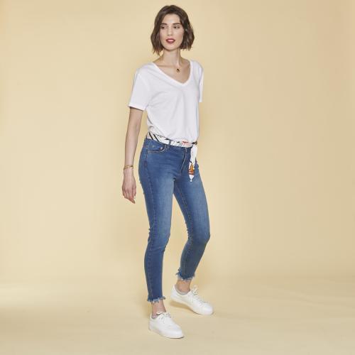 1cce724c973 3 SUISSES - Tee-shirt col V manches courtes bas arrondi femme - Blanc -