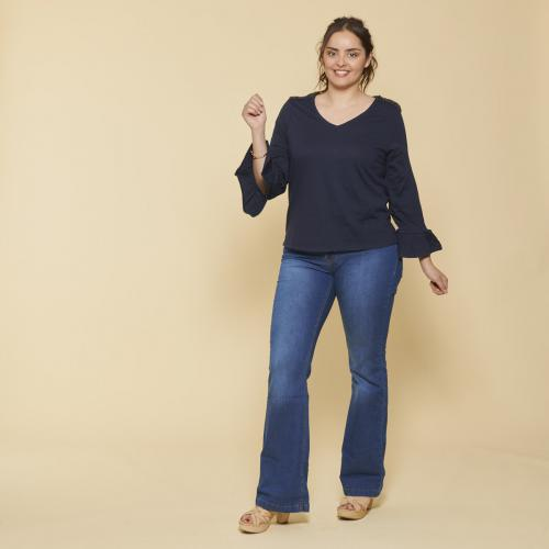 fc47bcc38890e 3 SUISSES - Tee-shirt col V manches longues évasées et sequins femme - Bleu