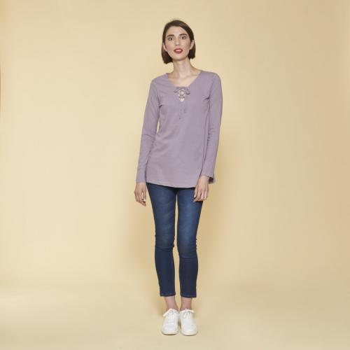 79f74c1d61a 3 SUISSES - Tee-shirt évasé col V avec cordon manches longues femme - Parme