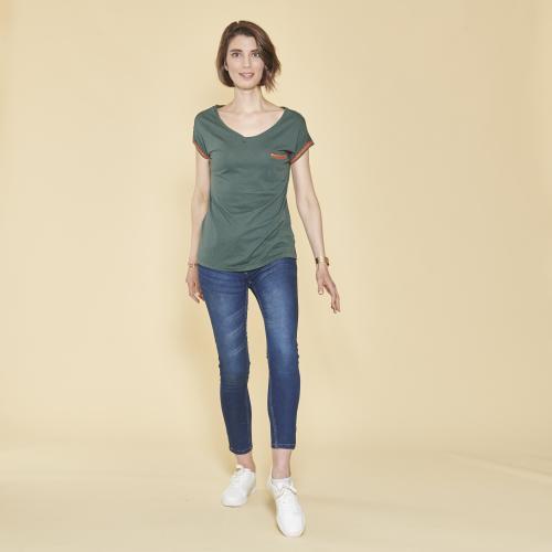 590a564101a 3 SUISSES - Tee-shirt fendu col V manches courtes femme - Vert Bouteille -