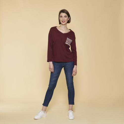Shirt Grenat Manches Plaquée Rouge Femme Fendu Imprimée Tee Longues Poche H9DbeE2IYW