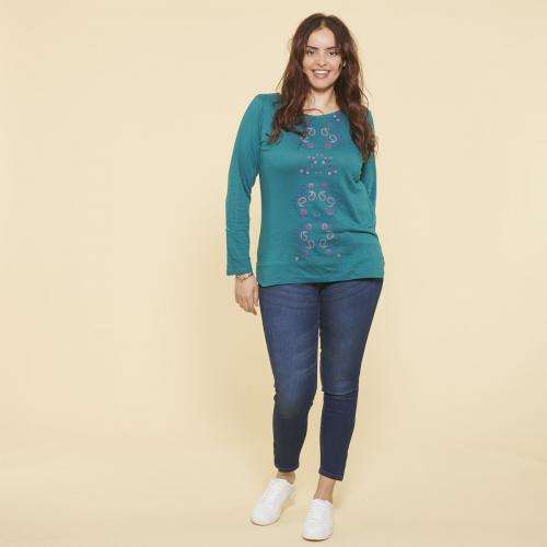 14d4859cb56ba 3 SUISSES - Tee-shirt imprimé gaufré manches longues femme - Bleu Pétrole -  T