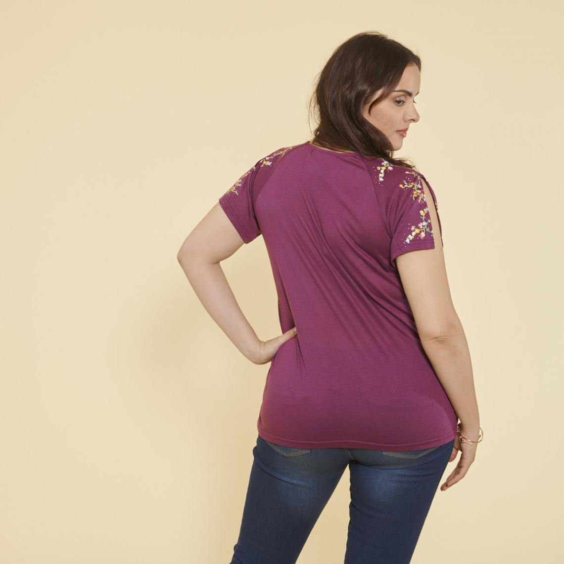 aa72ffb8415 Tee-shirt imprimé manches courtes fendues femme - Prune