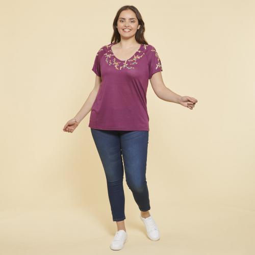 9160bae071 3 SUISSES - Tee-shirt imprimé manches courtes fendues femme - Prune - T-