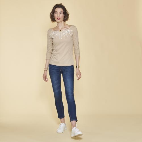 34 Manches Imprimé Guipure Femme Beige Clair Tee Shirt TK3FJcl1
