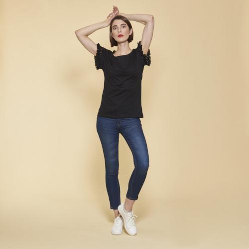 c00473eee91c8 3 SUISSES - Tee-shirt manches courtes avec passementerie femme - Noir - T-