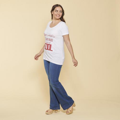 a35c3cce8f4 3 SUISSES - Tee-shirt manches courtes imprimé et franges femme - Blanc -  Promos