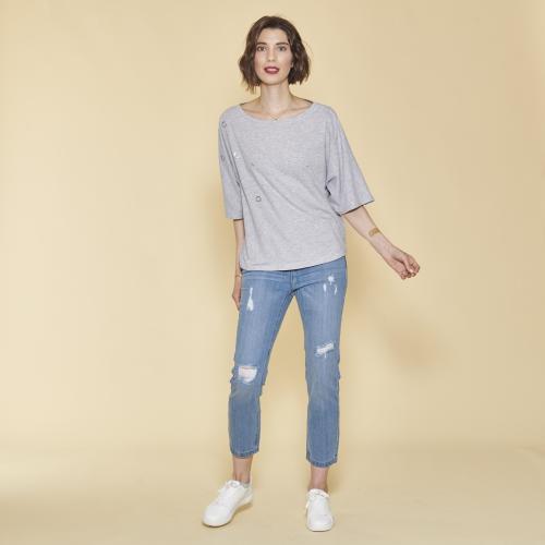 01ba20fedc 3 SUISSES - Tee-shirt manches courtes oeillets devant femme - gris chiné - T
