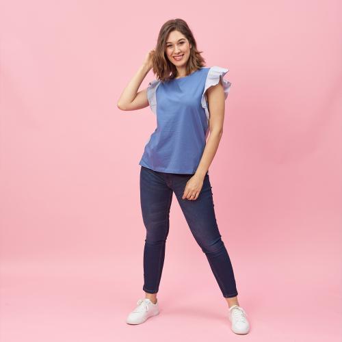 d38c773de4aa3 3 SUISSES - Tee-shirt manches courtes volantées rayées femme - Autres - T-