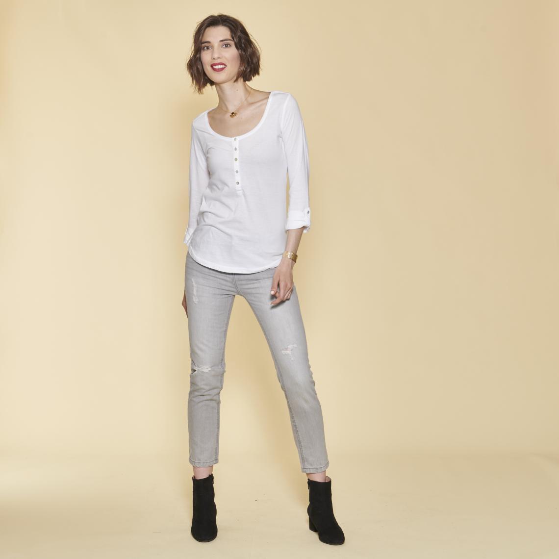 8bbfd21cefa Tee-shirt manches longues boutons en nacre femme - Blanc 3 SUISSES Femme