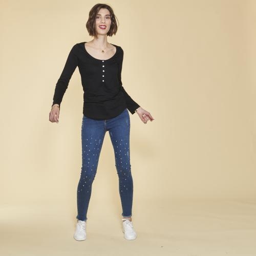 3S. x Basics - Tee-shirt manches longues boutons en nacre femme - Noir - T-shirt manches longues