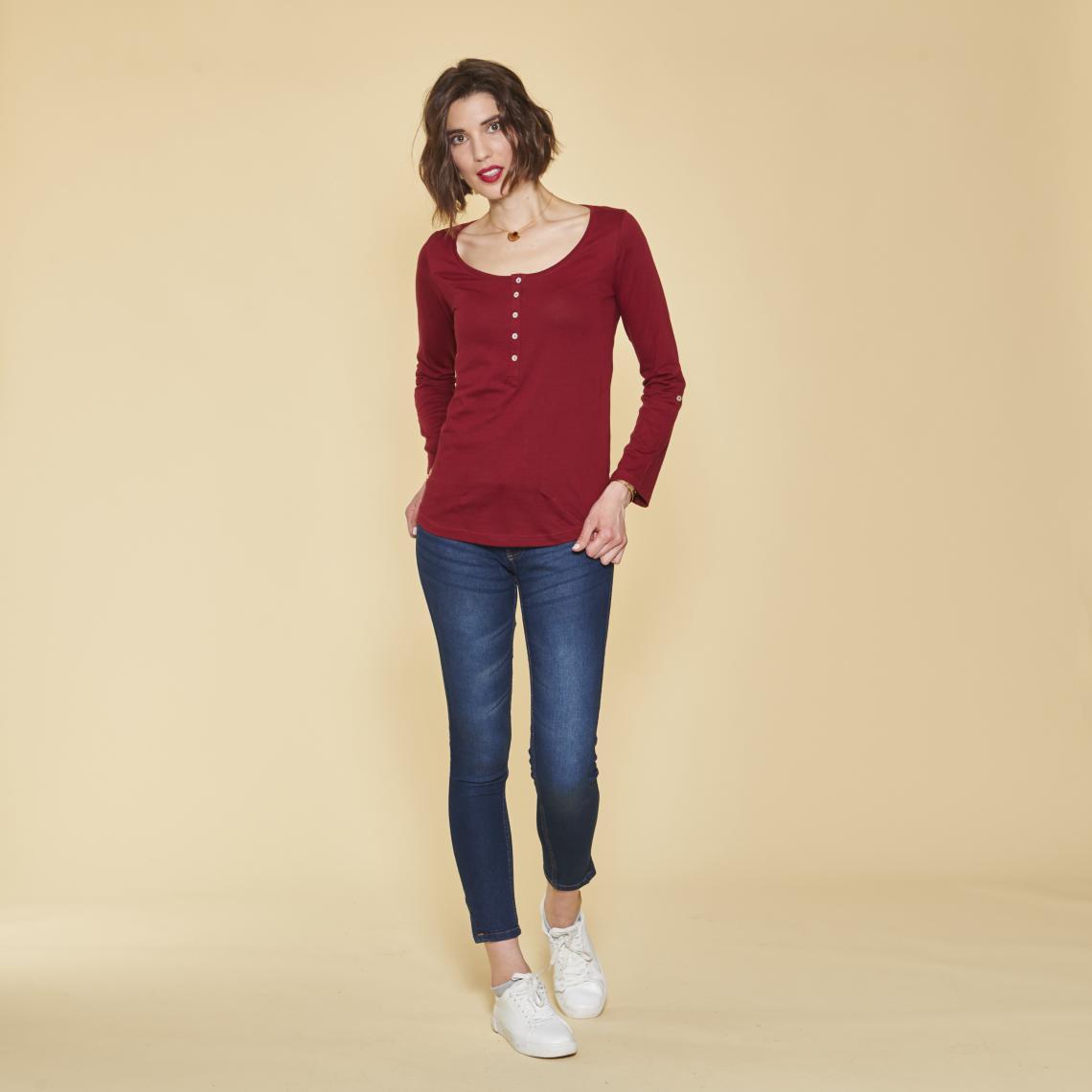 Promo : Tee-shirt manches longues boutons en nacre - Rouge Grenat - 3 SUISSES - Modalova