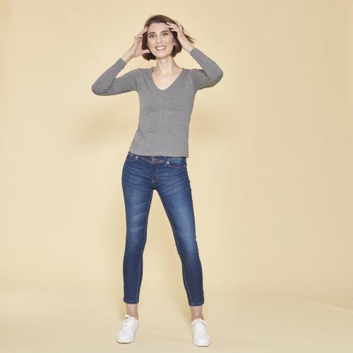99652371d53 3 SUISSES - Tee-shirt manches longues col en V femme - Gris Anthracite Chiné